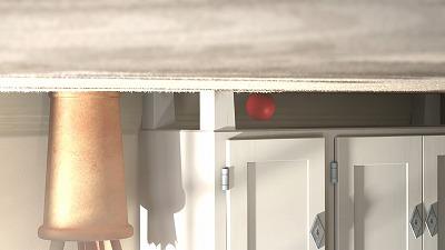 棚の下に転がる赤いボール