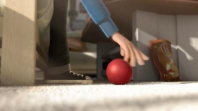 ボールを拾う手